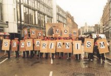 Postal workers marching during the General Strike in Belfast on January 18 2001 sparked by the sectarian killing of a young postal worker
