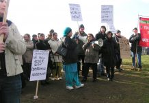 A section of last Friday's 200-strong Gate Gourmet locked -out workers mass picket at Heathrow – see feature