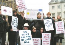 Demonstrators with their placards as they assembled opposite the House of Commons before Monday's vote on the ID cards bill