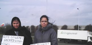 Gate Gourmet locked-out workers on the picket line yesterday near to the factory at Heathrow