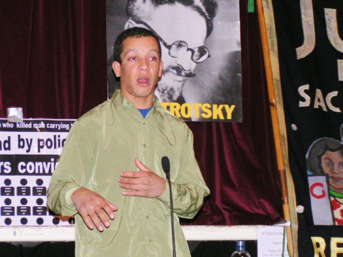 Alex pereira, cousin of Jean de Menezes, speaking at the News Line Anniversary rally last November
