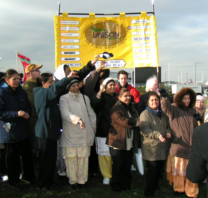 Gate Gourmet locked-out workers at their last mass picket at Heathrow, supported by Hounslow UNISON members