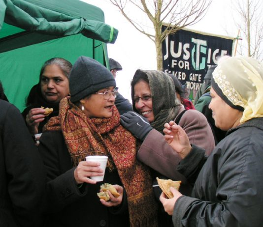 The Gate Gourmet locked-out workers made lots of food and were in high spirits on the picket line