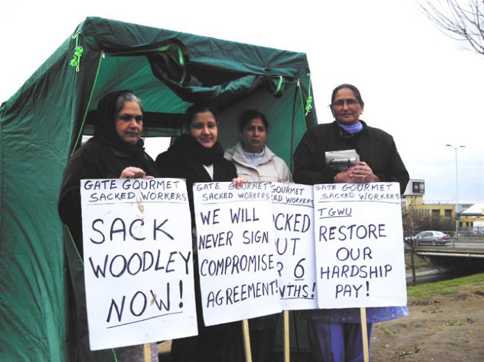 Gate Gourmet locked-out workers on the picket line at Heathrow yesterday