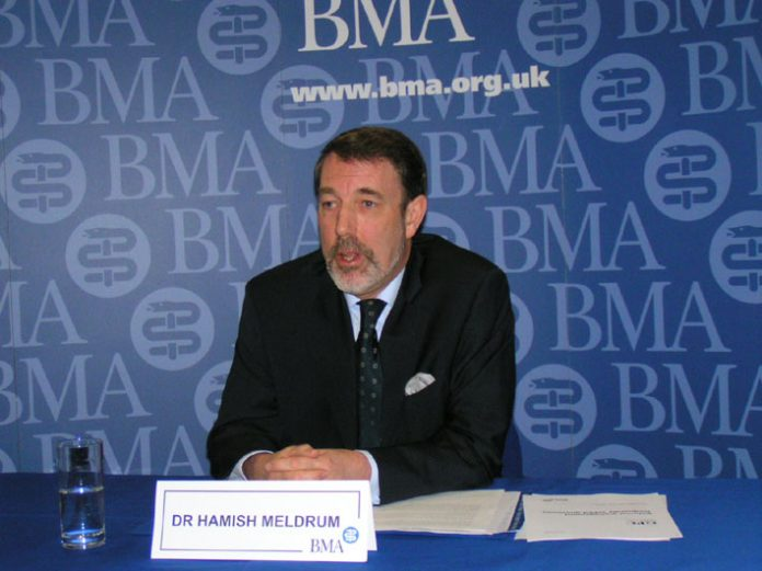 DOCTOR HAMISH MELDRUM addressing yesterday's press conference