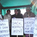 Gate Gourmet locked out workers in good spirits despite the bitter cold on the picket line at Heathrow yesterday
