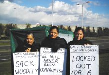 Gate Gourmet locked-out workers on the picket line yesterday