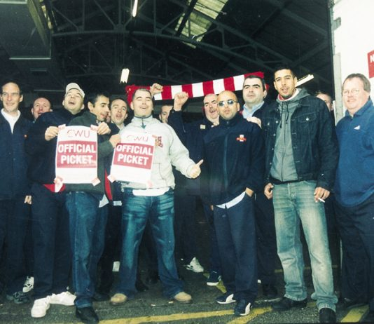 Striking Hammersmith postal workers on the picket line during their London Weighting dispute