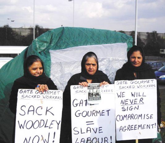 Gate Gourmet locked-out workers on the picket line in the freezing cold yesterday