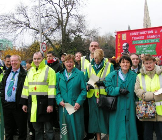 Aer Lingus stewards on the 100,000-strong demonstration in Dublin during the General Strike on December 9 last year in support of the Irish Ferries occupation