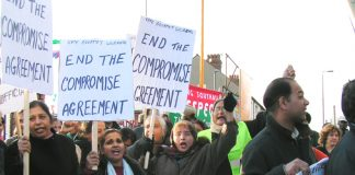 Gate Gourmet locked-out workers on their successful 1000-strong march through Southall last December 4