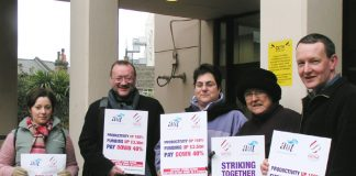 Striking lecturers at Goldsmiths in south east London on Tuesday morning