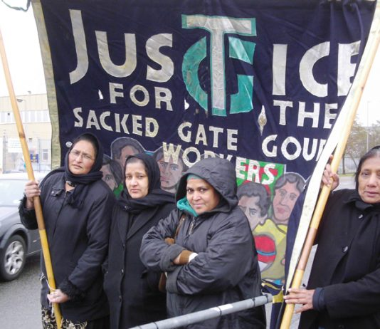 Gate Gourmet locked-out workers picketing outside the Gate Gourmet plant at Heathrow last Friday