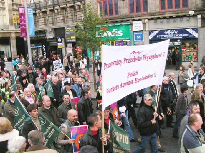 Polish trade unionists marching with SIPTU members on the Dublin marchon December 9 last year in support of the occupation of Irish Ferries by workers fighting to defend their jobs