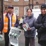 Gate Gourmet locked-out workers PARMJEET SIDHU and KULDEEP HOTHI (right) win support for their demonstration at Southall Royal Mail sorting office