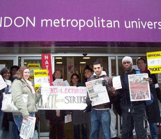 Students joined lecturers' picket line during their strike action earlier this month