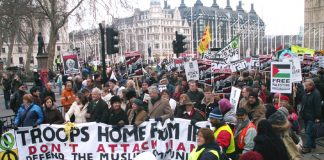 The front of Saturday's  50,000-strong 'Troops Home from Iraq – No war on Iran' demonstration in London  leaving Parliament Square