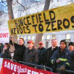 Herts FBU members lobbying the Downing Street reception on March 1 hosted by Blair to honour firefighters involved in the Buncefield oil depot fire – nine fire stations among the first to repond to the Buncefied fire are now  threatened with closure