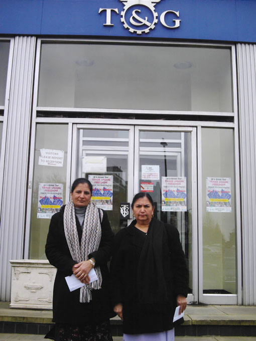 Gate Gourmet locked-out workers SURINDER DHARIWAL and SUKHWINDER MUNDY  outside the TGWU London regional office yesterday