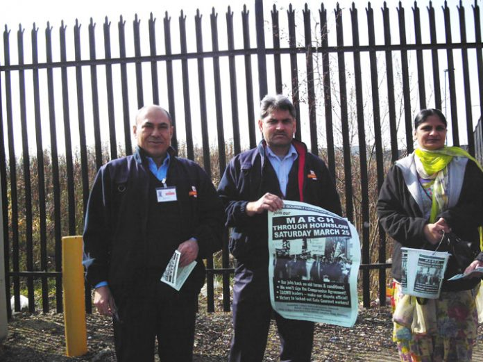 Gate Gourmet locked-out workers winning support for their demonstration at Greenford Royal Mail sorting office yester
