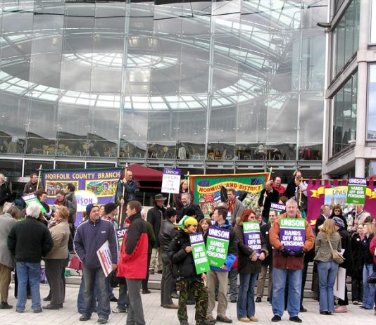 300 local government workers rally at the forum of Norwich City Library in Bethel Street