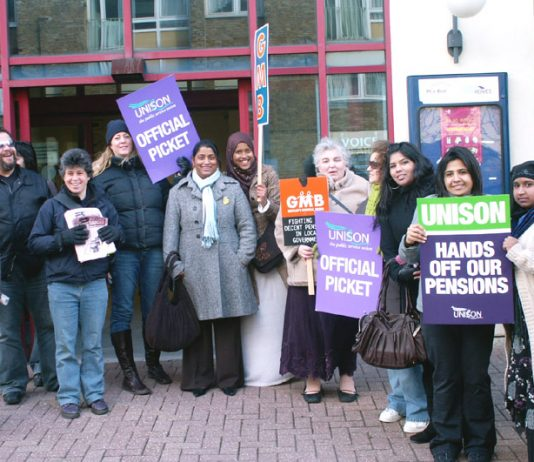 Enthusiastic picket line at the Southern Grove Depot in Tower Hamlets