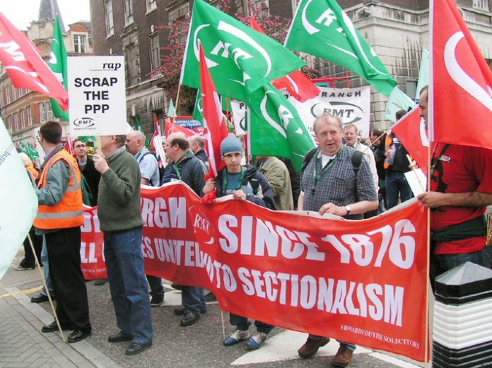 'Rail Against Privatisation' demonstration on April 30 last year condemns the Public-Private Partnership of the Underground network