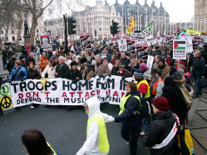 The front of the 50,000-strong London demonstration on March 18 demanding the withdrawal of all occupation troops from Iraq