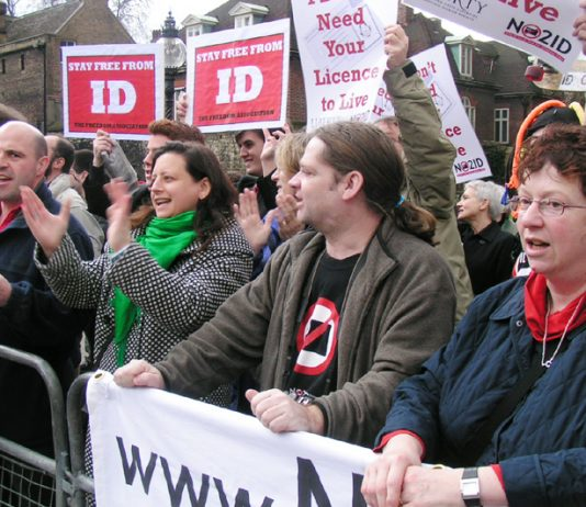 Demonstrators against Identity Cards outside parliament on February 13th this year