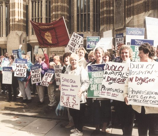Dudley Hospital workers lobbying the Department of Health against the PFI privatisation of their hospital