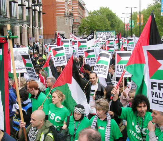 Marchers in London last May demand an end to the Israeli occupation of Palestine