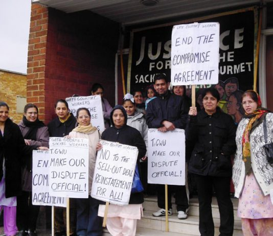Gate Gourmet sacked workers picketing T&GWU Hillingdon office where the shop stewards were meeting yesteday