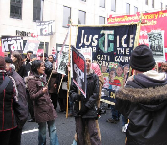 Marchers in London on the 3rd anniversary of the war on Iraq demand no attack on Iran