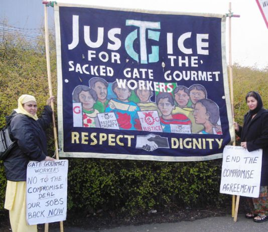 Gate Gourmet locked-out workers picketing the factory at Heathrow yesterday