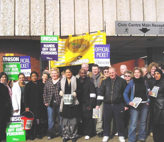 Hounslow UNISON members on the picket line during their successful strike to defend pensions on March 28 – all further actions have now been cancelled