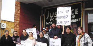 Gate Gourmet locked-out workers at a lobby of the Hillingdon TGWU office earlier this month