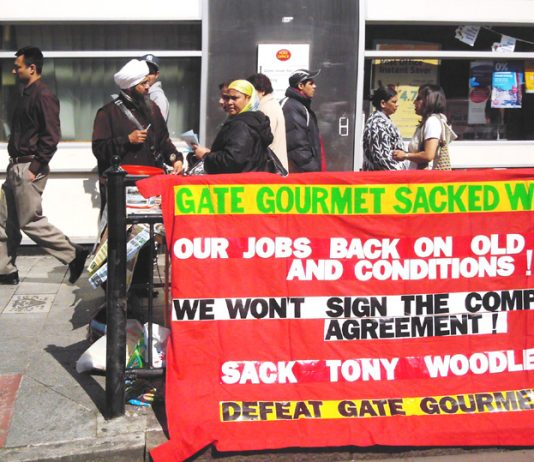 Locked-out Gate Gourmet workers campaigning on Southall High Street for next Monday's May Day march