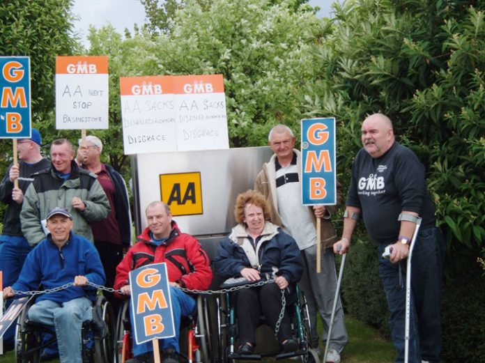 Far from being a friendly '4th emergency service' the GMB states the AA has introduced an 'oppressive work regime' and has picketed AA centres like Cheadle to defend sacked disabled members