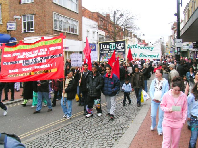 Youth in Hounslow showing their support for the locked-out Gate Goumet workers marching in Hounslow