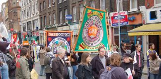 GMB delegations on last Monday's May Day march calling for trade union rights