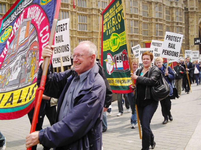 Rail workers lobbying the House of Commons yesterday to defend their pensions