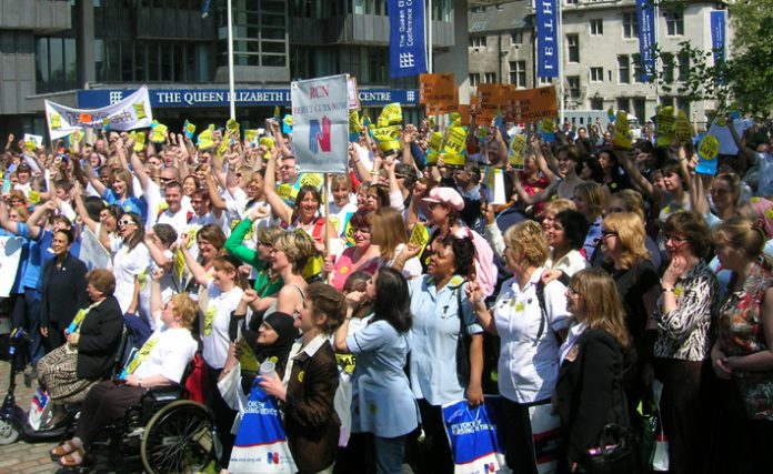 A thousand nurses from all over the country attended Thursday's lobby of parliament organised by the Royal College of Nursing (RCN)