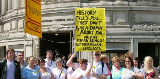 Nurses outside Central Halls on Thursday being reminded about one of the lessons of history
