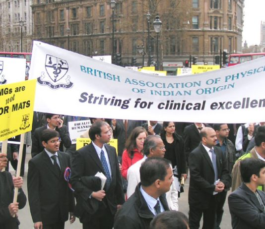 British Association of Physicians of Indian origin (BAPIO) at last month's lobby of Downing Street