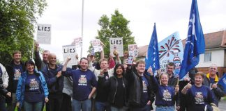 TGWU members from the closure-threatened HP Sauce factory in Birmingham lobbying the Heinz headquarters in Hayes, yesterday