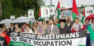 Front banner on the 5,000-strong  Free Palestine demonstration in London on Saturday