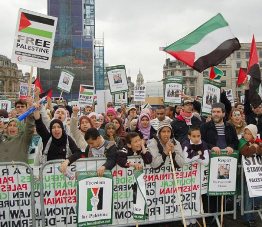 Youth at the front of Saturday's 'Stop Starving the Palestinians' rally in Trafalgar Square following the 5,000-strong march