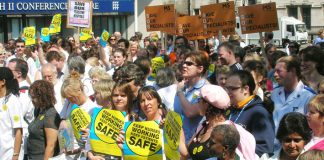 Nurses defending the NHS against bed cuts and hospital closures on May 6 when they lobbied parliament