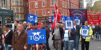 Peugeot workers from Ryton taking part in the May Day march in London