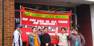 Gate Gourmet locked-out workers picketing TGWU office at Hillingdon yesterday demanding after 10 months that their dispute be made official and that they receive dispute pay